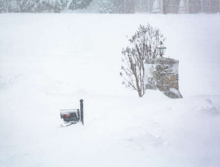 treacherous: Snow drifts in the major blizzard of January 2016 covers mailbox and entrance to driveway