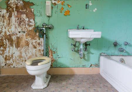 inodoro: viejo cuarto de baño y WC necesita un poco de trabajo de renovación dentro de Trans-Allegheny Lunatic Asylum en Weston, West Virginia, EE.UU. Foto de archivo