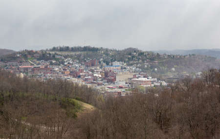 west virginia: Panoramic skyline and cityscape of Morgantown, home of West Virginia University or WVU Stock Photo