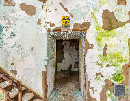 lunatic: Doorway to Fallout Shelter inside Trans-Allegheny Lunatic Asylum in Weston, West Virginia, USA