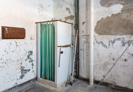 lunatic: Shower stall and curtain inside Trans-Allegheny Lunatic Asylum in Weston, West Virginia, USA