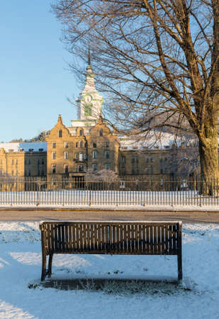 lunatic: Bench outside Trans-Allegheny Lunatic Asylum which is a Kirkbride Psychiatric hospital  in Weston, West Virginia, USA