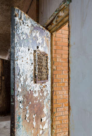 lunatic: Metal barred door leading to cell inside Trans-Allegheny Lunatic Asylum in Weston, West Virginia, USA