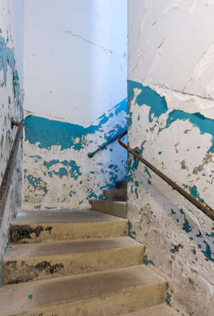 lunatic: Stairs in staircase inside Trans-Allegheny Lunatic Asylum in Weston, West Virginia, USA