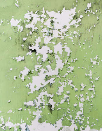 Green and white paint peeling off old wall and could be used to illustrate lead problems with homes and buildings Stock Photo