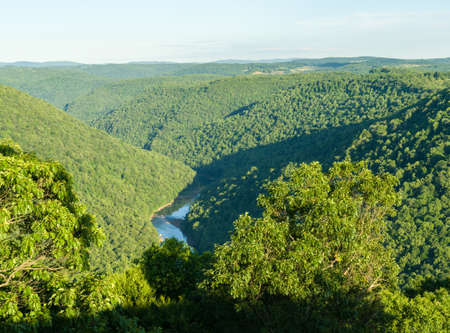 west river: View of Cheat River Canyon from Raven Rock in Coopers Rock State Forest West Virginia