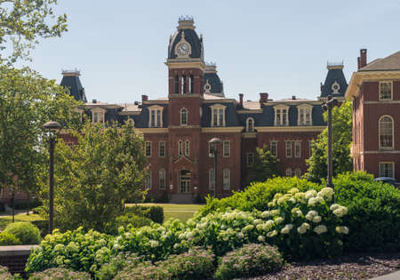 Woodburn Hall and downtown buildings of campus of West Virginia University in Morgantown