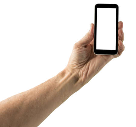 screenshot: Image of male hand holding smartphone with screen isolated ready for insertion of your application or screenshot