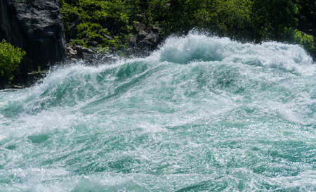Class six rapids in river by White Water Walk near whirlpool rapids at Niagara Falls