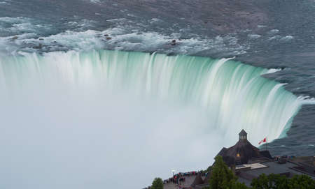 horseshoe falls: Blurred motion of Canadian or Horseshoe waterfall from Canadian side of Niagara Falls