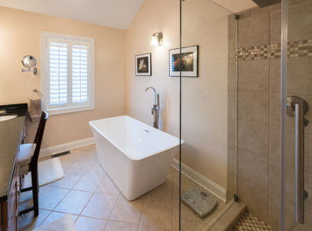 glass door: Interior of modern bathroom with standalone tub bath and walk in double tiled shower with rain head