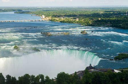 niagara falls: Canadian or Horseshoe waterfall from Canadian side of Niagara Falls
