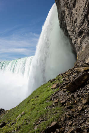 the edge of horseshoe falls: Edge of Canadian or Horseshoe waterfall from Canadian side of Niagara Falls