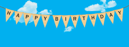 High resolution isolated sack cloth pennants with the letters embossed on each to create pennant flag message of Happy Birthday in the sky