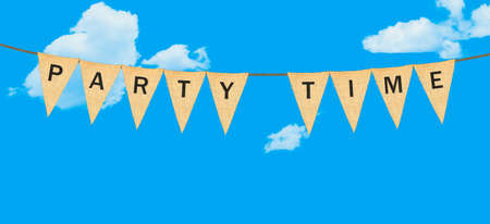 party time: High resolution isolated sack cloth pennants with the letters embossed on each to create pennant flag message of Party Time in the sky