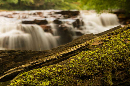 river county: Mossy log frames the blurred motion waterfall on Muddy Creek running into Cheat River off Route 26 in Preston County West Virginia Stock Photo