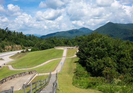 Roadside overlook in the mountains of Tennessee alongside interstate I26 with views of the tree covered mountains Stock Photo