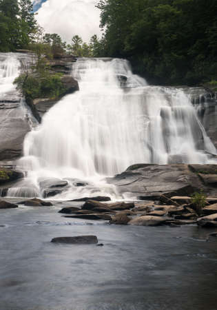 The dramatic waterfall of High Falls on the Little River in Dupont State Forest near Brevard North Carolina Stock Photo