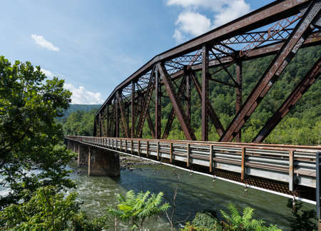 mainline: Railway bridge into ghost town of Thurmond West Virginia are owned by the National Park Service Stock Photo