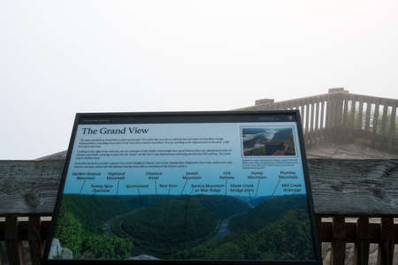 west river: Foggy day hides everything except the sign at Grand View in New River Gorge National park in West Virginia Stock Photo
