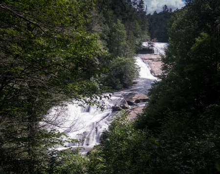 The three waterfalls of Triple Falls on the Little River in Dupont State Forest near Brevard North Carolina