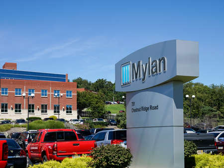 MORGANTOWN, WEST VIRGINIA, USA - AUGUST 30: Exterior of Mylan drug manufacturing plant on August 30, 2016 in Morgantown, WV.  Mylan is in the news over pricing of the Epipen. Editorial