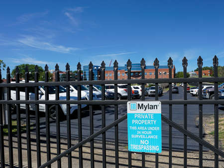 MORGANTOWN, WEST VIRGINIA, USA - AUGUST 30: Exterior of Mylan drug manufacturing plant on August 30, 2016 in Morgantown, WV.  Mylan is in the news over pricing of the Epipen. Редакционное