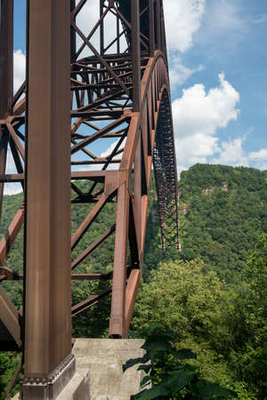 girders: Detail of the structure of the girders of the high arched New River Gorge bridge in West Virginia
