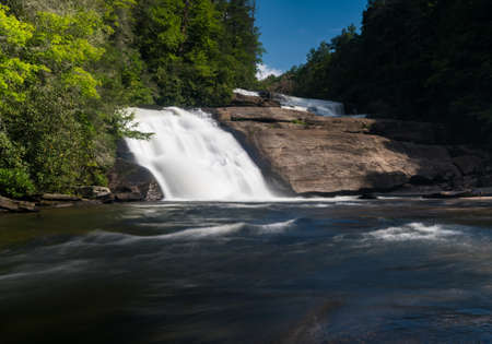 Upper two waterfalls of Triple Falls on the Little River in Dupont State Forest near Brevard North Carolina Stock Photo