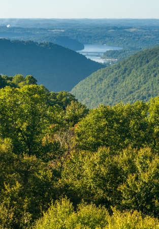 west river: View of Cheat River Canyon and Cheat Lake from Snake River Wildlife Management Area near Morgantown in West Virginia