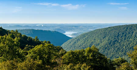 Panoramic view of Cheat River Canyon and Cheat Lake from Snake River Wildlife Management Area near Morgantown in West Virginia