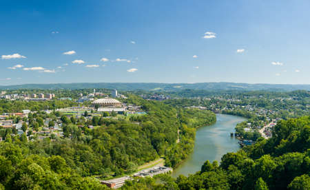 west river: Panorama of WVU Coliseum Arena and campus of West Virginia University with river Monongahela in Morgantown, West Virginia
