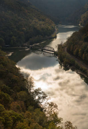 forest railroad: Overlook of New River from Hawks Nest State Park in West Virginia in Fall Stock Photo