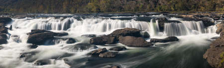 west virginia: Sandstone Falls National Park on New River in autumn in West Virginia