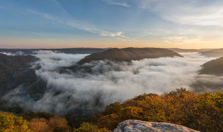 oxbow: Panorama of New River at Grand View in New River Gorge National park at sunrise in West Virginia