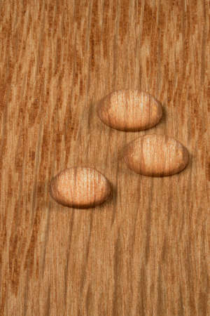 polished wood: Three round water drops standing on polished wood surface of flooring or other hardwood