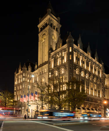building exteriors: WASHINGTON DC, USA - NOVEMBER 18:  Trump International Hotel in Washington DC on November 18, 2016. The hotel officially opened on October 26, 2016.