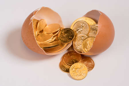 nestegg: Selection of pure gold USA treasury coins in broken egg shell illustrating financial security of a retirement nest egg Stock Photo
