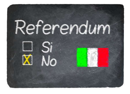 constitutional: Italy Constitutional reform vote of No written in chalk on a chalky natural slate blackboard isolated against white background with copy space
