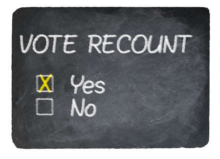 chalky: Election Vote recount choice of Yes written in chalk on a chalky natural slate blackboard isolated against white background with copy space
