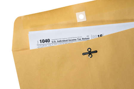 Printed Copy Of Form 1040 For Income Tax Return With Reminder
