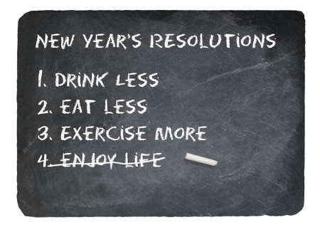 witty: New Years Resolution joke message written in chalk on a chalky natural slate blackboard isolated against white background Stock Photo