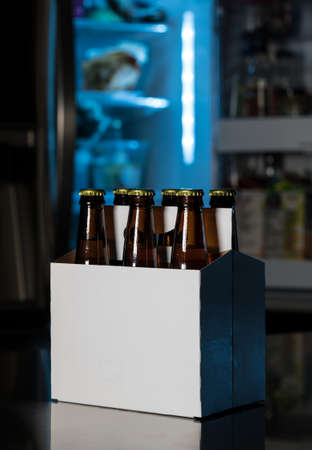sixpack: Six pack of brown beer bottles in plain white cardboard carrier with copy space on stainless steel kitchen or bar counter. Open fridge or refrigerator out of focus in rear.