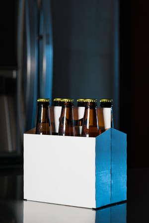 Paquete de seis de botellas de cerveza de color marrón en soporte de cartón blanco con copia espacio en la cocina de acero inoxidable o barra de bar Foto de archivo