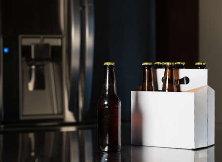 six pack: Six pack of brown beer bottles in plain white cardboard carrier with copy space on stainless steel kitchen or bar counter Stock Photo