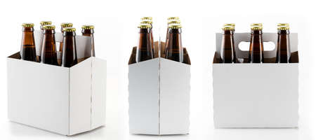 sixpack: Three different views of six beer bottles in cardboard container with gold caps with reflection in shiny white base