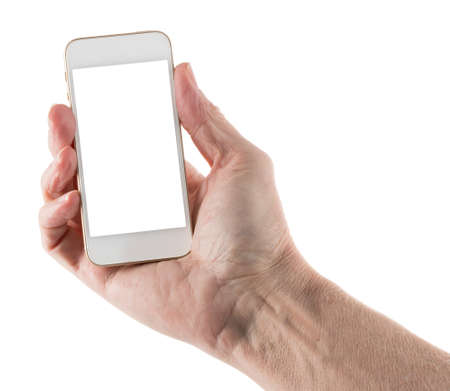 screenshot: Image of male left hand holding smartphone with screen isolated ready for insertion of your application or screenshot against white background