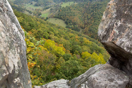 seneca: View down from the rocky mountain top of Seneca Rocks in West Virginia