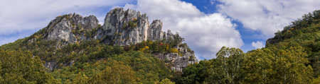 west virginia: Panorama of the rocky mountain top of Seneca Rocks in West Virginia Stock Photo