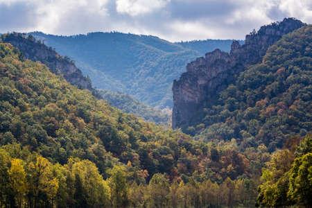 seneca: Panorama of the rocky mountain top of Seneca Rocks in West Virginia Stock Photo